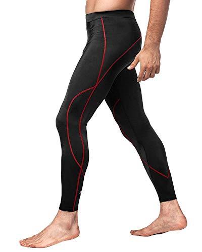 LAPASA Uomo Pantaloni Sportivi a Compressione -Compressione GRADUALE- Running Allenamento Palestra M18 (L/Large (Vita 91-96 cm), Nero+Rosso)