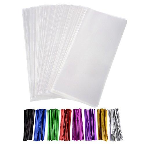 300 Packung Klar Snack-Taschen Klar Cello Taschen 4 x 9 Zoll mit 320 Stück Twist Krawatten 8 Farben für Hochzeit Plätzchen Geschenk Süßigkeiten Buffet Versorgung