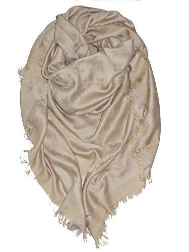 !Trendstyle Schal Tuch Monogram Groß Grau Beige Blau Dreieckstuch 150cm (Beige)