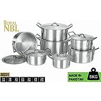 Royal NBL 7 Pieces Aluminium Cookware Set With 7 Lid, High Quality Aluminium Cooking Pot Set