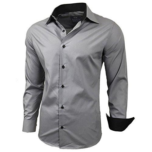 Kontrast Business Anzug Freizeit Polo Slim Fit Figurbetont Hemd Langarmhemd R-44, Farbe:Grau;Größe:L (Grau, Anzug Herren Farbe)