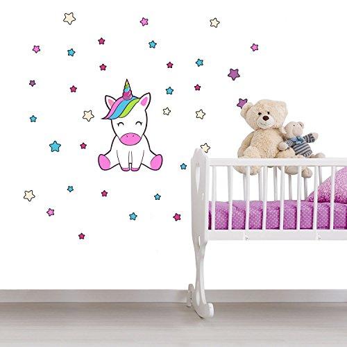 Einhorn Wandtattoo Kinderzimmer 33 Teile - Wandsticker Set - Pink Regenbogen Aufkleber zum Kleben für Babyzimmer, Wandaufkleber Dekoration, Wanddeko, Wandfolie, Kinder Erstausstattung Rauhfaser Tapete