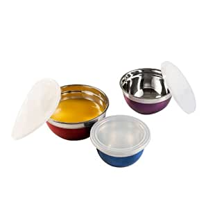 Kitchen Artist MEN190 Set de 3 Bols en Inox avec Couvercles