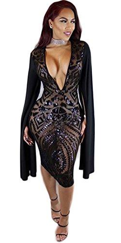 Femmes Sexy col V profond Paillettes Faux Hip Deux Clubwear Paquet Pieces Midi Dress Noir