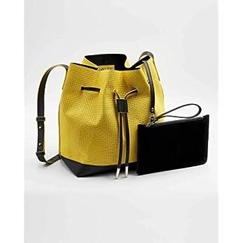 SOOFRE Berlin Unique Bucket Bag JEANNE aus Rindsleder, Karomuster – Gelb   Schwarz
