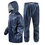 Malvina Men's Bike/Scooter Water Proof blue Plain Unisex Rain Coat with Bag