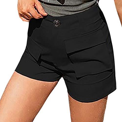 TIMEMEAN Damen Bekleidung Sexy Shorts Volltonfarbe Hohe Taille Design Tasche Freizeit Strand Sommer Kurze Hosen - Synthetische Meersalz