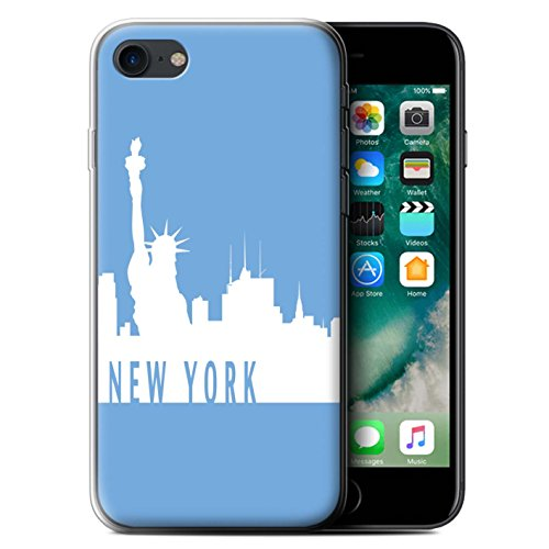 Stuff4 Gel TPU Hülle / Case für Apple iPhone 7 / Melbourne/Rot Muster / Stadt Skyline Kollektion New York/Blau