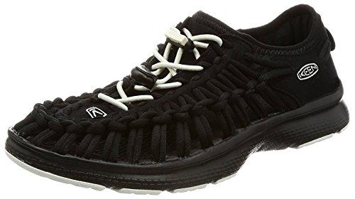 KEEN Womens Uneek O2 Round Cord Sandal, Black/White, 9 B(M) US