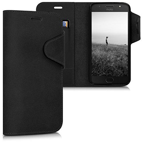 kalibri-Hlle-fr-Motorola-Moto-G5S-Echtleder-Wallet-Case-Schutzhlle-mit-Fach-und-Stnder-in-Schwarz