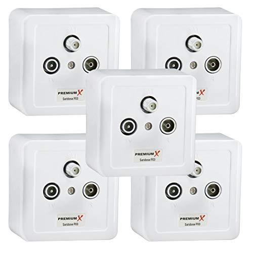PremiumX 5X Sat Dose 3-Fach Enddose Antennendose Einzel und Stichleitungsdose Antennen Auf und Unterputz FULLHD Digital