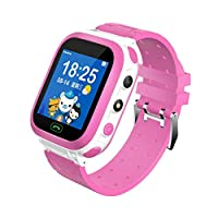 2019 Newest Clearance Kids Smart Watch Digital Camera Watch with Emergency Call GPS Positioning Remote Camera Waterproof Anti-Fall SOS Smartwatch for 3-12 Year Old (Pink)