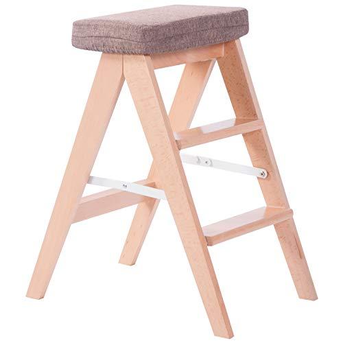 FOKN-ladder Klappleiter Multifunktion Massivholz Haushalt Küche Klein 3 Tritthocker Aufsteigen Stuhl Mehrfarbig,Hohe 60CM,England