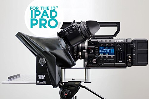 TeleprompterPAD iLight PRO 13'' Grande Schermo Gobbo - 100x100 Alluminio - iPad PRO/Android/Windows Tablet PC - Robusto Prodotto Professionale - Multi Camera (DSLR e Professional Video Cams) Vetro HD Beamsplitter - Produzione Alta qualità - Made in UE