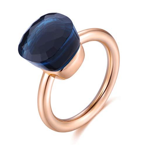 Klassische 14K Rose Gold überzogene Ring massiv 925 Sterling Silber Ringe mit Edelstein-Achat für Frauen Engagement, Hochzeit Schmuck/Muttertags-Geburtstagsgeschenk (Blue, 60 (19.1)) (14k Schmuck Gold Ringe)