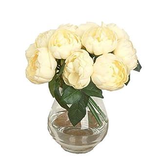 Sanysis 1 x 6 Cabezas Peonía Flores Artificiales Colgantes (Amarillo)