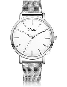 Souarts Damen Armbanduhr Einfach Mesh Metallarmband Casual Analoge Quarz Uhr Silber Farbe