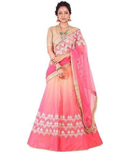Indian Ethnicwear Bollywood Pakistani Wedding Shaded Pink And Yellow A-Line Lehenga Semi-stitched