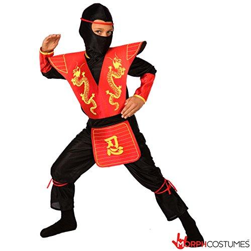 Costume da Ninja per Bambini Vestito da Kung Fu Rosso o Nero per Bambini - Medio (6-8 Anni)