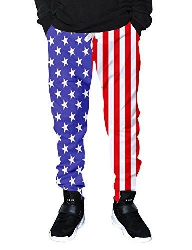 Trainingshose Tanz-print (Chicolife Herren Damen amerikanische Flagge Sterne Streifen Print Hip Hop Neuheit Jogger Pant Grafik Track Jogginghose mit Tunnelzug Taschen X-Large)