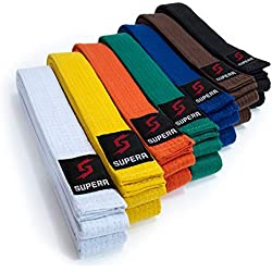Supera Ceinture pour Sports de Combat Différentes Couleurs et Longueurs Karate Ceinture en Tissu Extra épais Ceinture Taekwondo pour Enfants et Adultes - Ceinture de budog 280 cm Jaune