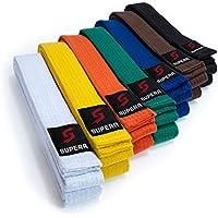Supera Cinturón de artes marciales, largo de kárate, de tela extragruesa, para niños y adultos, cinturón de taekwondo