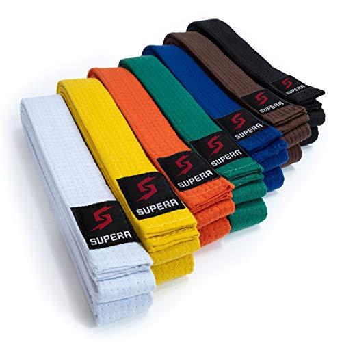 Supera Kampfsport Gürtel Längen. Karate Gürtel aus extra dickem Stoff. Taekwondo Gürtel für Kinder und Erwachsene - Budogürtel, Farbe:orange, Größe:260 cm