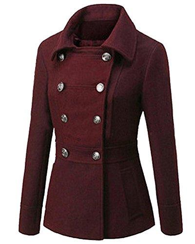 Damen Mantel Zweireiher Lange Ärmel Trenchcoat Militärstil Jacke Wein Rot