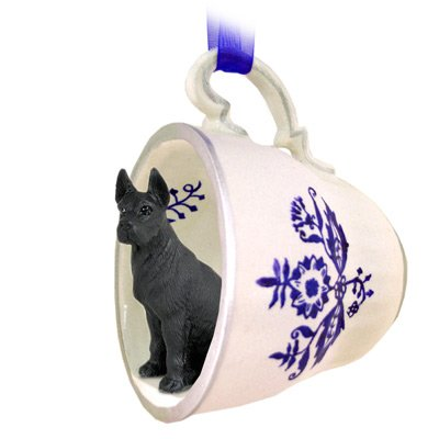 Great Dane Black Tea Cup Blue Ornament