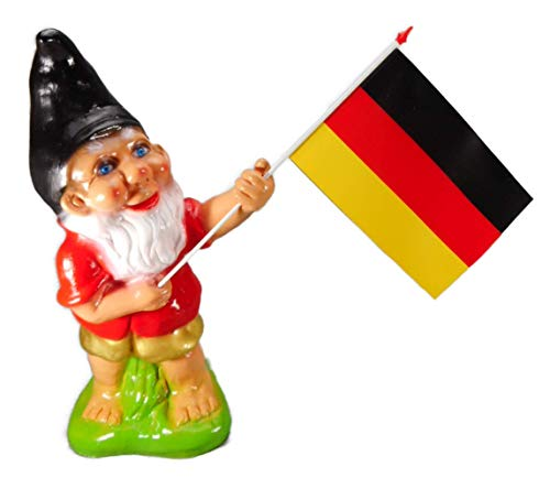 Gartenzwerg Fan 37 x 18 x 34 cm incl. Deutschland Fahne Fußball Handball Eishockey PVC Deko GRS 0489d