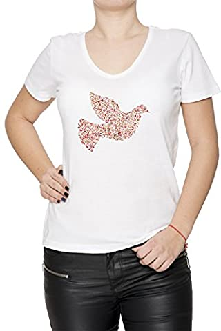 Oiseau Femme T-Shirt V-Col Blanc Manches Courtes Taille XL Women's V-Neck White X-Large Size XL
