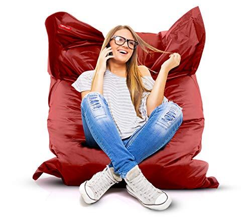 Roomox Original Sitzsack-120x160cm-für drinnen & draußen XXL Sitzsack, Stoff, Rot, 160x120x30 cm