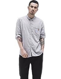 BaronHong Camisa de Manga Larga con Manga Larga y Bolsillo en Pecho Slim para Hombre u0jPBv5ORN