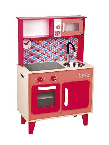 Janod – Jouet en Bois – Cuisine Enfants Cuisine de jeu en bois – Horloge de cuisine four lavabo, 55 x 30 x 87 cm, multicolore