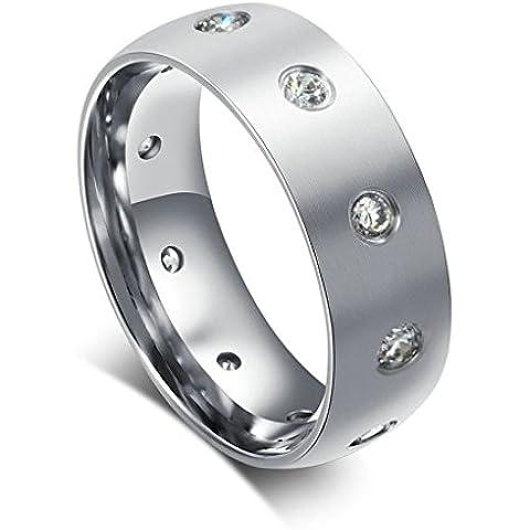 Acciaio Inossidabile Anello da Donna Uomo, Argento Rotondo Cristallo Cerchio Lunetta Impostazione Larghezza 8MM - Adisaer - Lunetta Diamante Solitario Anello