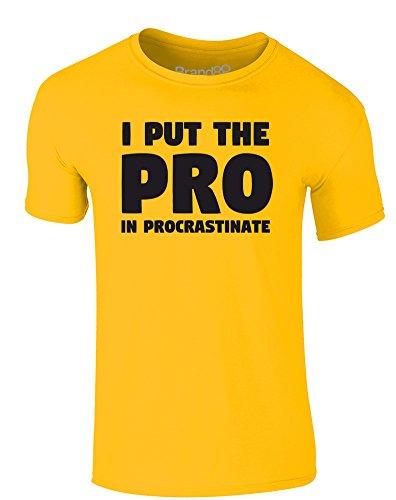Brand88 - I Put the Pro in Procrastinate, Erwachsene Gedrucktes T-Shirt Gänseblümchen-Gelb/Schwarz