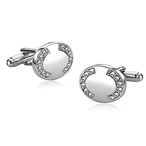 Epinki Stainless Steel Inlaid Cubic Zirconia Oval Shape Silver Man Shirt Cuff Links for Wedding