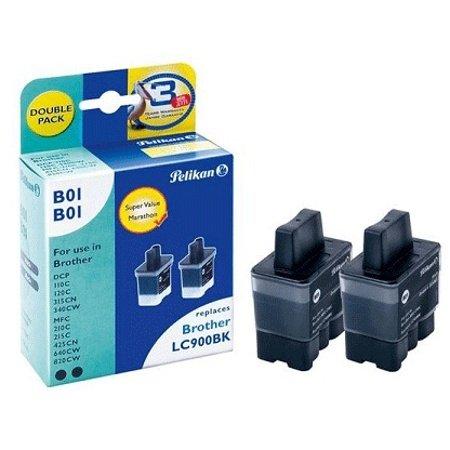Preisvergleich Produktbild Pelikan 2x B01 Double Pack, ersetzt Brother LC900BK, schwarz