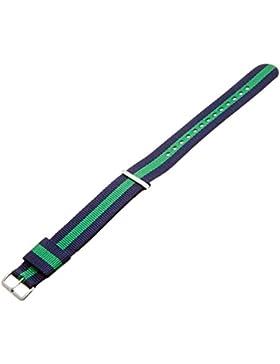 Daniel Wellington Herren Uhren-Armband Classic Warwick Natostrap blau grün Schliesse silber DW00200019