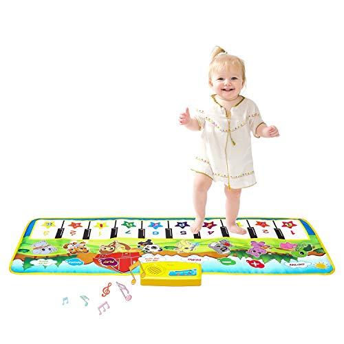 Klaviermatte, Kinder Musikteppich Musik Matten Baby Früherziehung Musik Singen Piano Floor Musical Spielzeug für Kinder Geschenk (Grün)