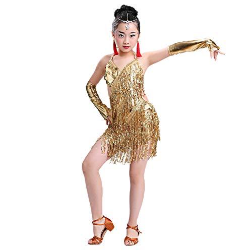 Goyajun Latein Tanzrock Schlinge Paillette Quaste Performance Kostüm Tanzkleid für Salsa Samba Rumba Tango Jazz