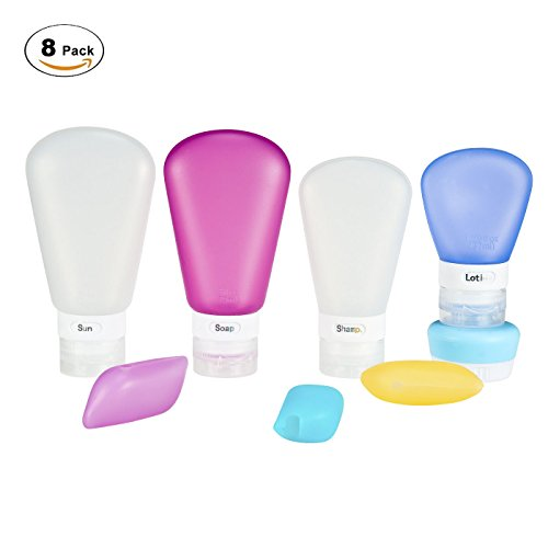 Beauty Case da viaggio 8 pcs - IVENCASE Bottigliette in silicone, Bottiglia Da Viaggio approvate dalla TSA, comprimibili e riempibili, per shampoo, balsamo, lozioni