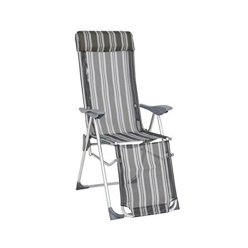 greemotion Chaise relax en aluminium Texel – Chaise longue de jardin avec dossier réglable – Fauteuil multiposition rayé gris – Bain de soleil pliant – Chaise pliante avec accoudoir et repose pied