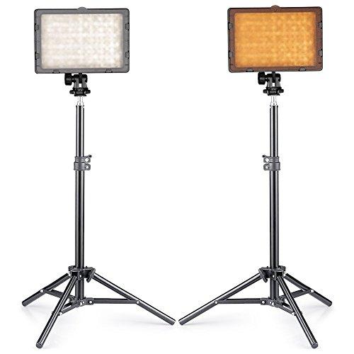 """Neewer® Fotostudio CN-216 LED-Beleuchtungssatz für Canon, Nikon, Pentax, Panasonic, Sony, Samsung und Olympus Digitale Spiegelreflexkameras umfassen (2) CN-216 LED-Videoleuchte + (2) 32 """"/ 80cm Mini Licht Stand"""