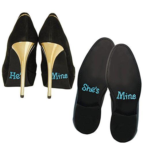 oblique-uniquer-autocollants-de-chaussures-strass-hes-mine-shes-mine-couple-de-maries-mariage-fianca