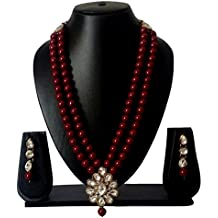 CATALYST Stylish Maroon Pearl Necklace Set with Earrings,Designer Party wear Jewellery Set for Women(208M)