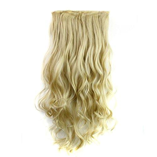 Rosennie Damen Perücke 5Pcs Clip Falschhaar synthetische Haar Verlängerungs gelocktes hitzebeständiges Haar perücke Haar Extension haarverlängerung haarteile Haar synthetische perücke