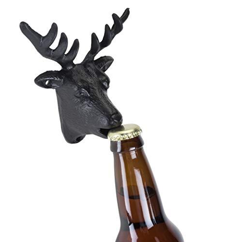 Foster & Rye 5709 Flaschenöffner aus Gusseisen zur Wandmontage, Hirsch, Schwarz -