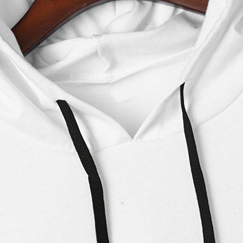 DOLDOA Femme Lettres Sweat à capuche à manches longues Sweat-shirt Chemisier Blanc