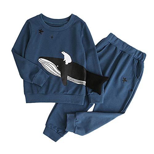 2PCS Outfits Oberteile Langarm T-Shirt + Hosen Wal drucken Pullover Tops Set Blau ❤120/3-4 Jahre ()